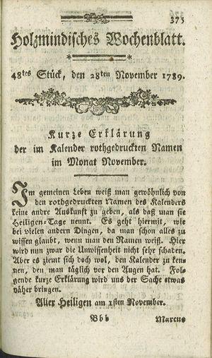 Holzmindisches Wochenblatt vom 28.11.1789