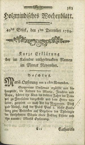 Holzmindisches Wochenblatt vom 05.12.1789