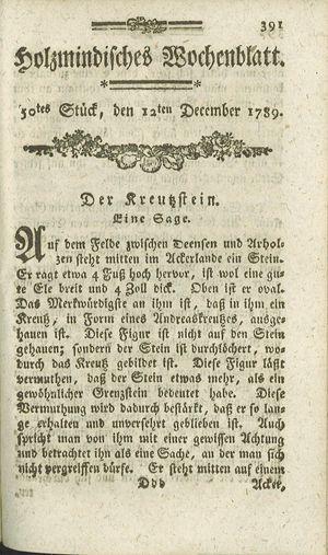 Holzmindisches Wochenblatt vom 12.12.1789