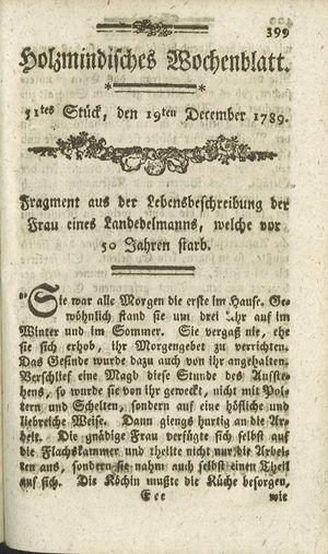 Holzmindisches Wochenblatt vom 19.12.1789