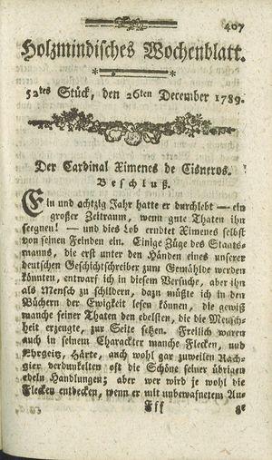 Holzmindisches Wochenblatt vom 26.12.1789