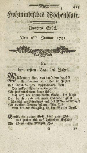 Holzmindisches Wochenblatt vom 08.01.1791