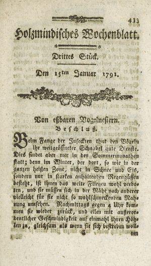 Holzmindisches Wochenblatt vom 15.01.1791