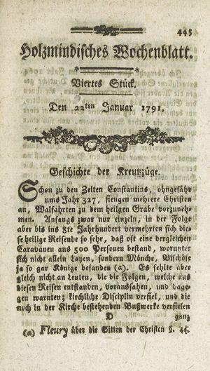 Holzmindisches Wochenblatt vom 22.01.1791