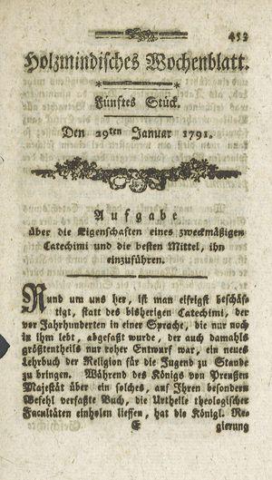 Holzmindisches Wochenblatt vom 29.01.1791