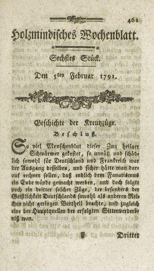 Holzmindisches Wochenblatt vom 05.02.1791