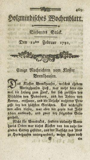 Holzmindisches Wochenblatt vom 12.02.1791