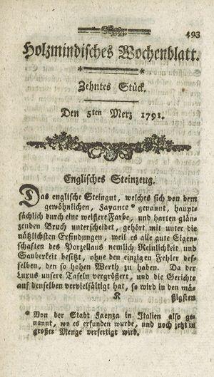 Holzmindisches Wochenblatt vom 05.03.1791