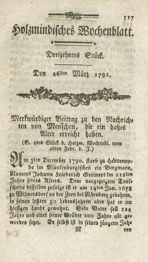 Holzmindisches Wochenblatt vom 26.03.1791