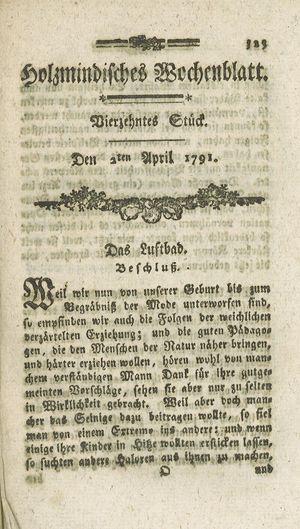 Holzmindisches Wochenblatt on Apr 2, 1791
