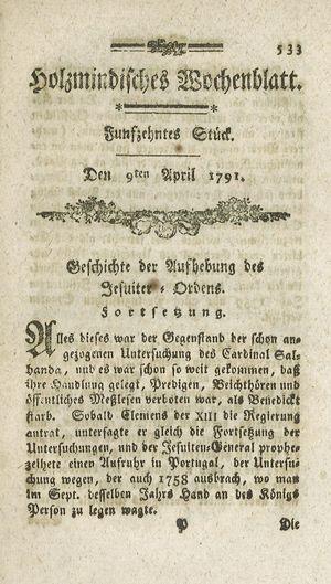 Holzmindisches Wochenblatt vom 09.04.1791