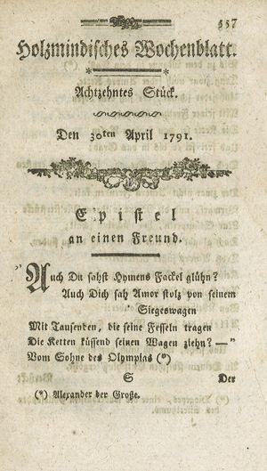 Holzmindisches Wochenblatt vom 30.04.1791
