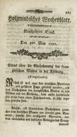 Holzmindisches Wochenblatt vom 07.05.1791