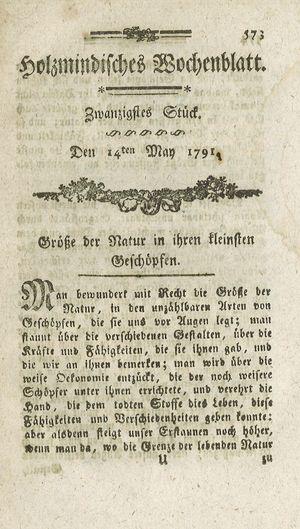 Holzmindisches Wochenblatt vom 14.05.1791
