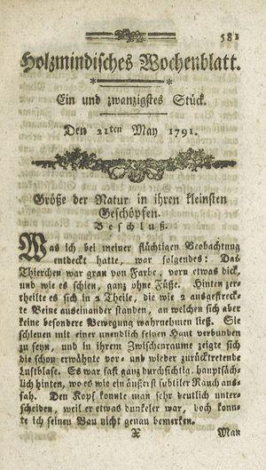 Holzmindisches Wochenblatt vom 21.05.1791