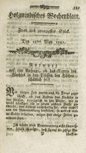 Holzmindisches Wochenblatt vom 28.05.1791