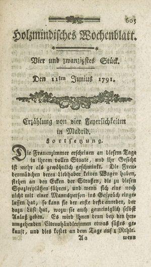 Holzmindisches Wochenblatt vom 11.06.1791