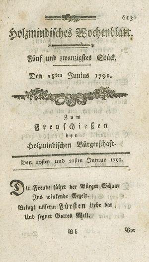 Holzmindisches Wochenblatt vom 18.06.1791