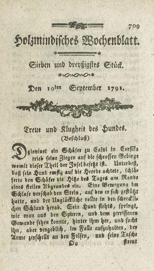 Holzmindisches Wochenblatt vom 10.09.1791