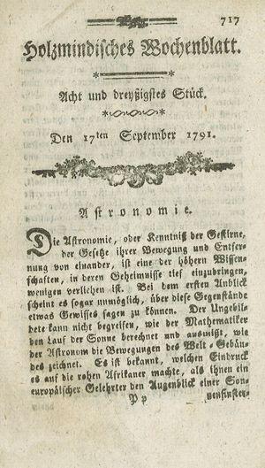 Holzmindisches Wochenblatt vom 17.09.1791