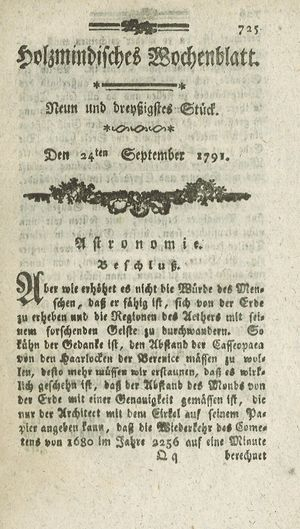 Holzmindisches Wochenblatt vom 24.09.1791