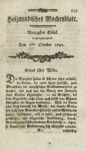 Holzmindisches Wochenblatt vom 01.10.1791