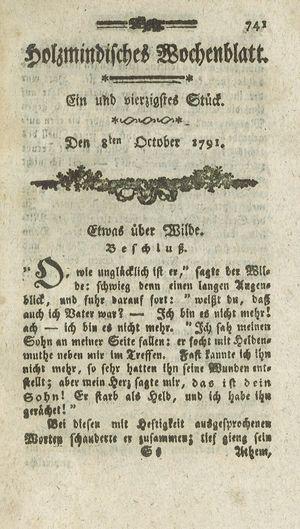 Holzmindisches Wochenblatt vom 08.10.1791