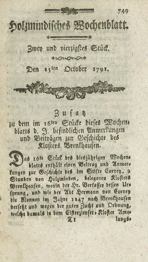 Holzmindisches Wochenblatt vom 15.10.1791