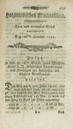 Holzmindisches Wochenblatt vom 22.10.1791