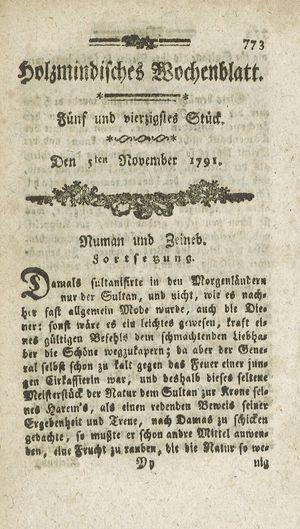 Holzmindisches Wochenblatt vom 05.11.1791