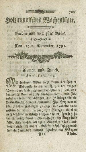 Holzmindisches Wochenblatt vom 19.11.1791