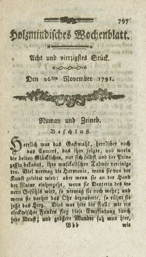 Holzmindisches Wochenblatt vom 26.11.1791