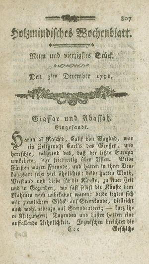 Holzmindisches Wochenblatt vom 03.12.1791