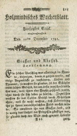 Holzmindisches Wochenblatt vom 10.12.1791