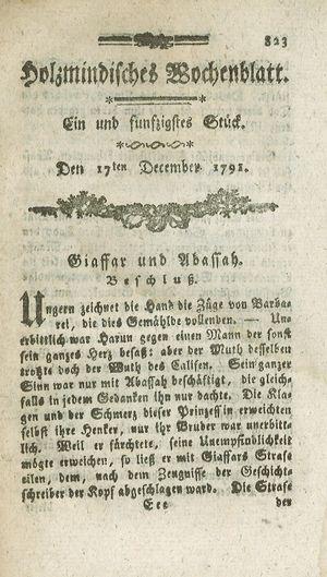 Holzmindisches Wochenblatt vom 17.12.1791