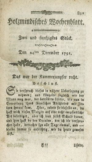 Holzmindisches Wochenblatt vom 24.12.1791