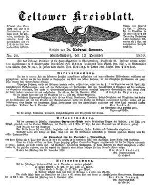 Teltower Kreisblatt vom 13.12.1856