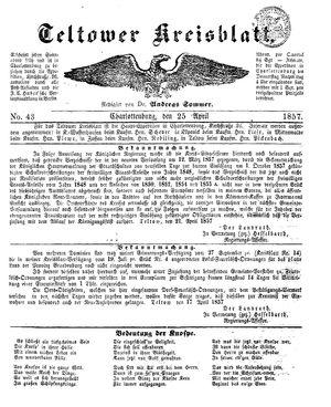 Teltower Kreisblatt vom 25.04.1857