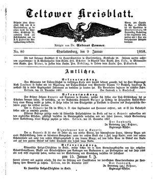 Teltower Kreisblatt vom 09.01.1858
