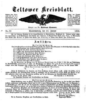 Teltower Kreisblatt vom 30.01.1858