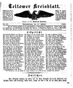 Teltower Kreisblatt vom 13.02.1858