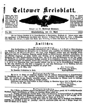 Teltower Kreisblatt vom 10.04.1858
