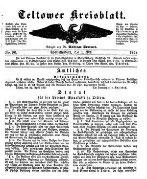 Teltower Kreisblatt vom 01.05.1858