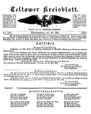 Teltower Kreisblatt vom 29.05.1858