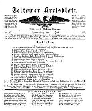 Teltower Kreisblatt vom 12.06.1858