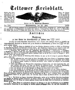 Teltower Kreisblatt vom 26.06.1858