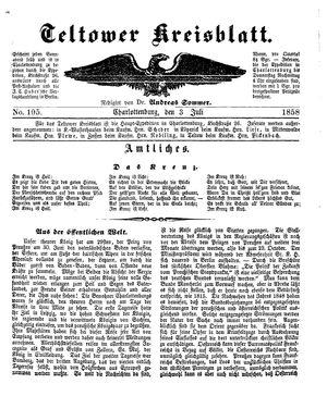 Teltower Kreisblatt vom 03.07.1858