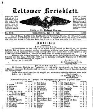 Teltower Kreisblatt vom 10.07.1858