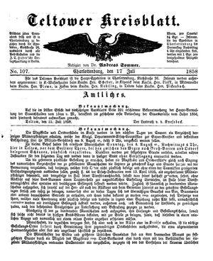 Teltower Kreisblatt vom 17.07.1858