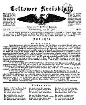 Teltower Kreisblatt vom 24.07.1858